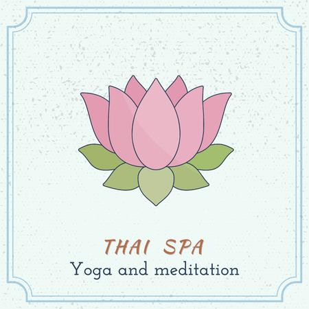 grange: Hand drawn lotus flower. Branding identity design elements, grange background.