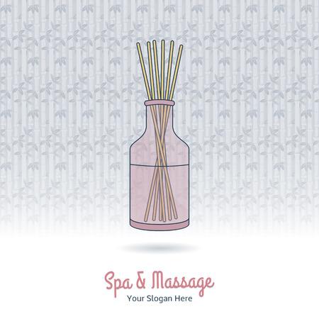 grange: Hand drawn reed fragrance diffuser. Branding elements on grange background.