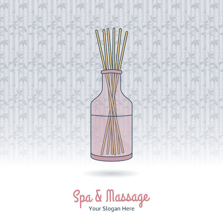 Hand drawn reed fragrance diffuser. Branding elements on grange background.