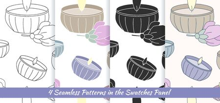 scented candle: Elegant collection of four seamless patterns with hand drawn candles and flowers. Illustration