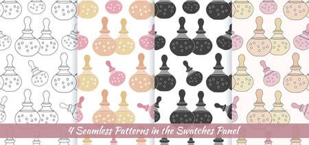 Elegant collection of four seamless patterns with hand drawn bottles of spa oil.