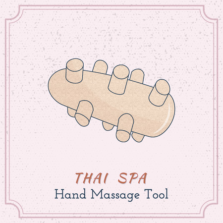 reflexology: Hand drawn reflexology Thai hand massage tool. Design elements on grange background Illustration