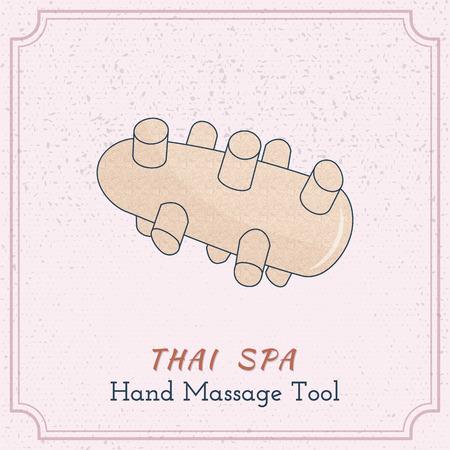 Hand drawn reflexology Thai hand massage tool. Design elements on grange background Illustration