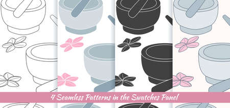 Elegant collection of seamless patterns with hand drawn mortar and pestle.