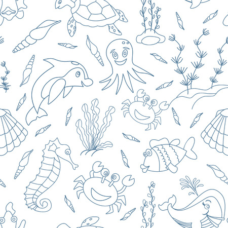 oceanside: Seamless pattern with hand drawn sea creatures in modern mono line style isolated on white background. Cartoon dolphin, crab, fish, sea horse, octopus, shells, seaweed, sea turtle and whale. Illustration