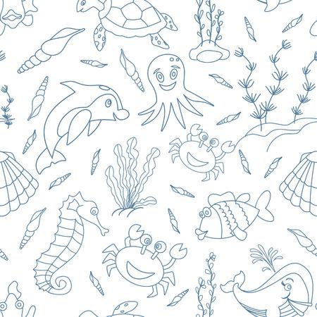 caballo de mar: sin patrón, con dibujados a mano las criaturas del mar en estilo moderno de línea mono aislado en el fondo blanco. delfín de la historieta, cangrejos, peces, caballitos de mar, pulpos, conchas, algas marinas, tortugas marinas y ballenas. Vectores