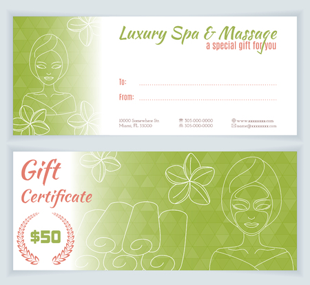 facial massage: Spa, massage gift certificate template with hand drawn woman with mask. Illustration