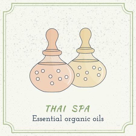 grange: Hand drawn bottle of spa oil, branding identity elements on grange background.