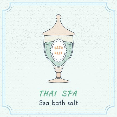 Hand drawn glass jar with spa salt. Branding elements on grange background. Иллюстрация