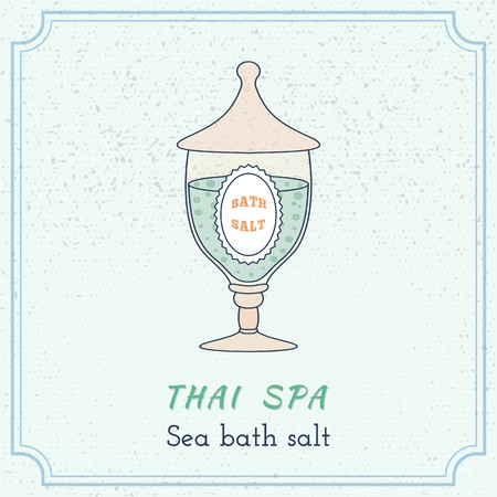 oriental medicine: Hand drawn glass jar with spa salt. Branding elements on grange background. Illustration
