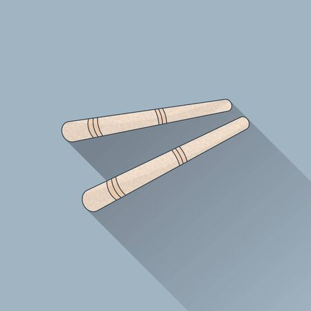 Hand drawn Thai  foot massage stick. Flat icon, colored image with long shadow on gray background.