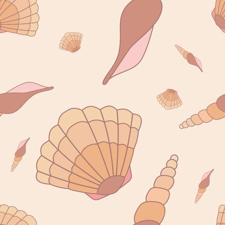 oceanside: seamless pattern with hand drawn sea shells. Tropical sea life design. Illustration