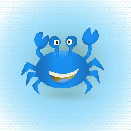 blue crab: Cute hand drawn blue crab with shadow on wavy ocean. Tropical sea life graphic design elements. Summer icon