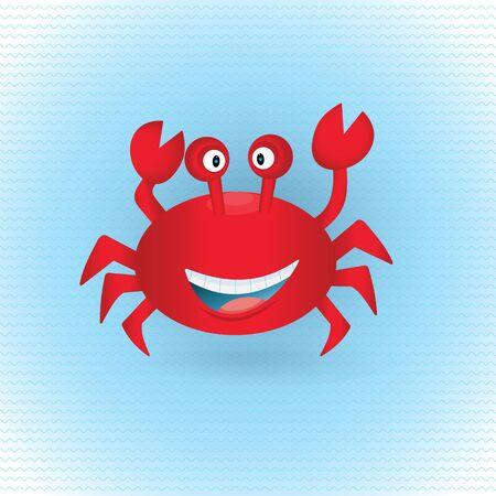 Cute hand drawn crab. Tropical sea life design. Illustration