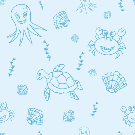 seamless pattern with hand drawn octopus, crab, sea turtle sea shell, seaweeds. Tropical sea life design