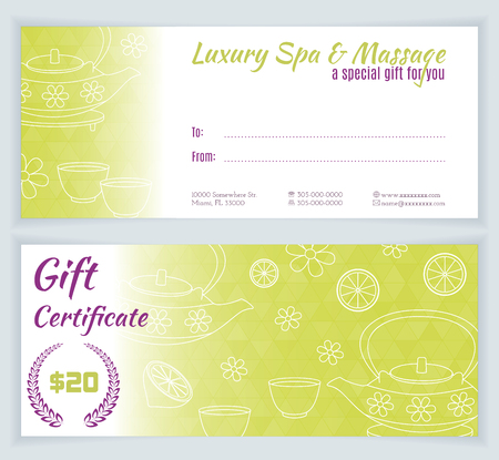 thai herb: Spa, massage gift certificate template with hand drawn teapot, cups, lemon.