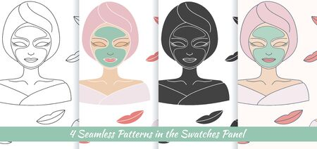facial massage: Collection of seamless patterns with hand drawn beautiful woman with facial mask.