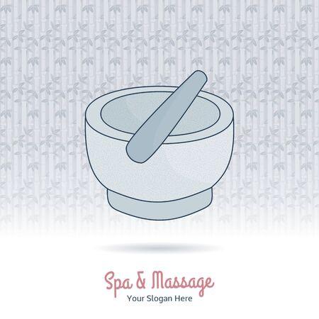 oriental medicine: Hand drawn mortar and pestle. Branding identity design on grange background Illustration