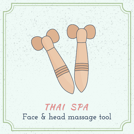 Hand drawn roller face and head Thai massage tool. Design elements on grange background.