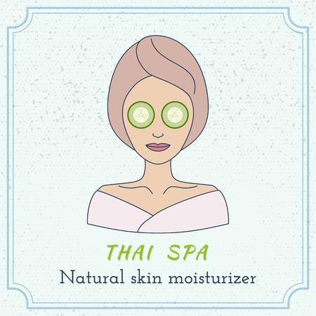beauty therapist: Hand drawn beautiful woman with eye mask. Branding identity elements. Illustration
