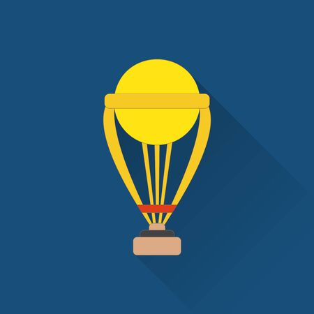 Trophy flat icon. Colored flat image with long shadow on blue background.