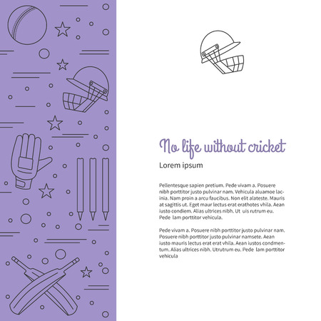 cricketer: poster with cricket symbols and objects and with place for text. Illustration
