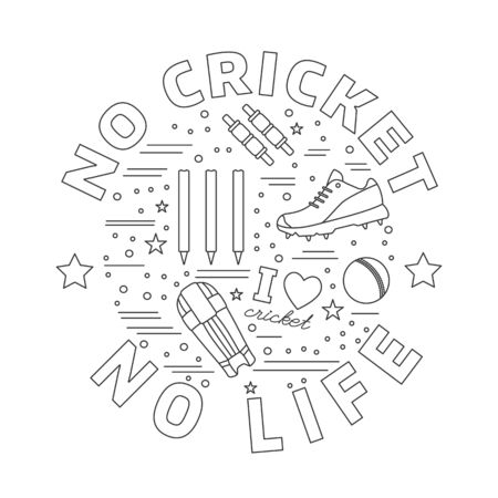 mania: Cricket game icons in circle composition isolated on white background.
