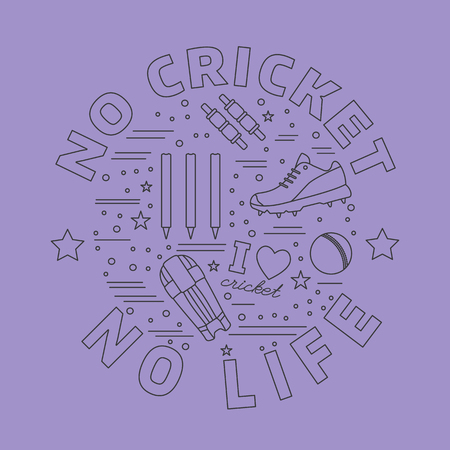 bails: Cricket game icons in circle composition isolated on purple background.