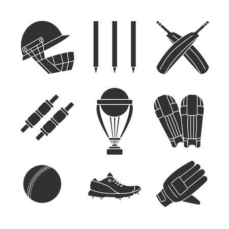 cricketer: Set of cricket game equipment silhouettes isolated elements on white background. Cricket ball, bat, cricket glove, sneaker, cricket helmet, batting pads, trophy, bails, stump, wicket.