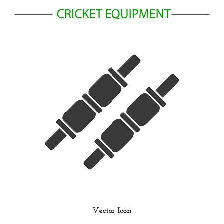 cricketer: Sport icon. Cricket game equipment.