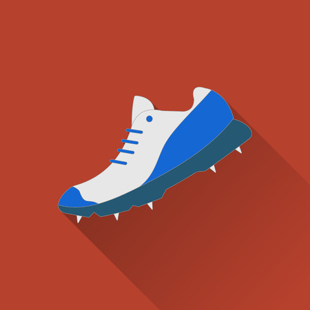 Cricket shoe flat icon. Colored flat image with long shadow on yellow background.