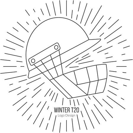 cricket helmet: Cricket helmet with vintage sun rays.
