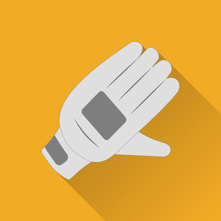 Cricket glove flat icon. Colored flat image with long shadow on yellow background.