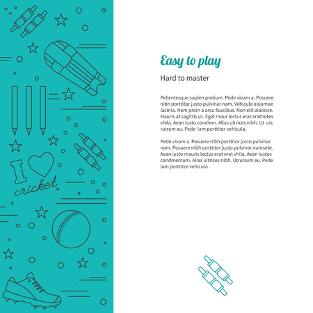 bails: poster with cricket symbols and objects and with place for text Illustration