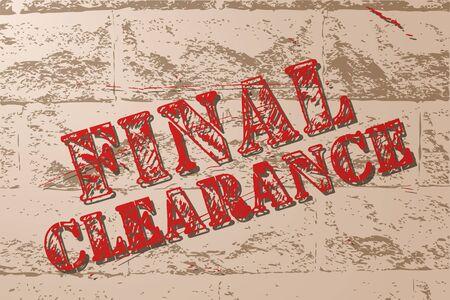Vintage sale sign banner on grunge brick wall.