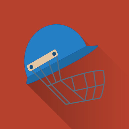 Cricket helmet flat icon. Colored flat image with long shadow on yellow background.