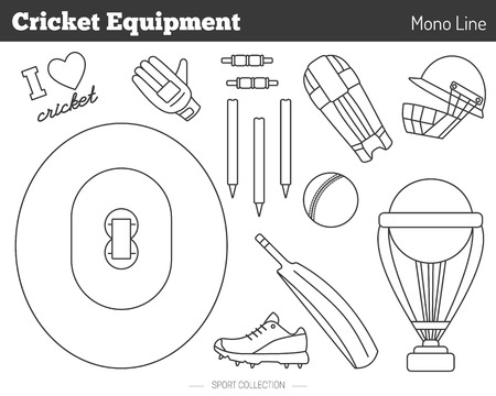 bails: Collection of cricket game equipment pictograms made in modern mono linear style on white background. Professional sport concept and design elements for web sites, mobile and web applications.