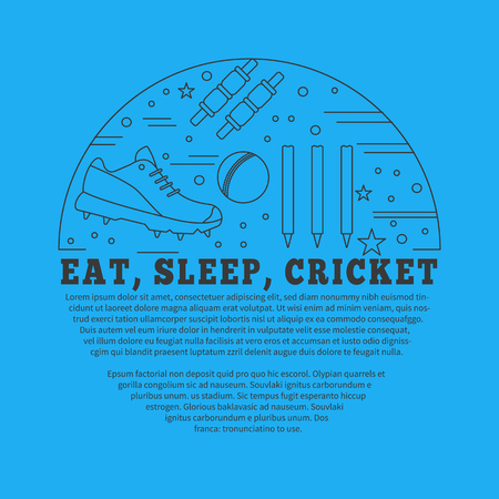 bails: poster with cricket symbols and objects in circle with place for text. Illustration