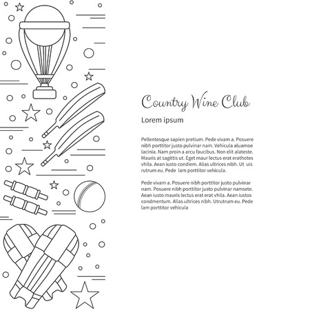 mania: poster with cricket symbols and objects and with place for text. Illustration