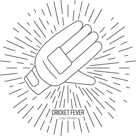 cricketer: Cricket glove with vintage sun rays. Illustration