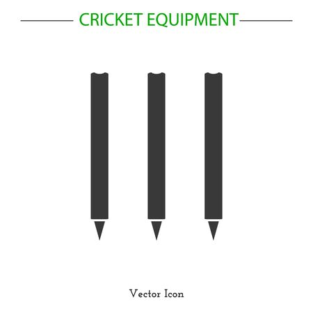 cricketer: Sport icon. Cricket game equipment.