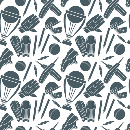 bails: Seamless pattern with hand drawn cricket game silhouettes isolated elements on white background. Cricket ball, bat, cricket glove, sneaker, cricket helmet, batting pads, trophy, bails, stump, wicket.