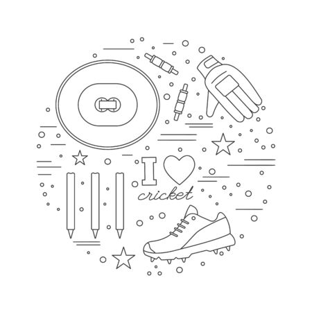 cricketer: Round composition with cricket game symbols and objects.