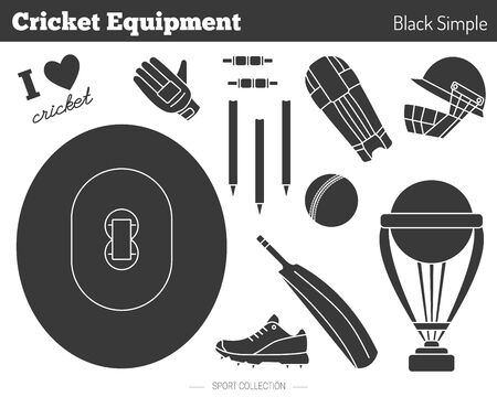 bails: Collection of cricket game equipment silhouettes isolated elements on white background. Black simple style. Professional sport concept and design elements for web sites, mobile and web applications. Illustration