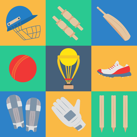 Cricket game equipment, flat icons composition. Professional sport theme. Unique, modern set isolated on background. Illustration