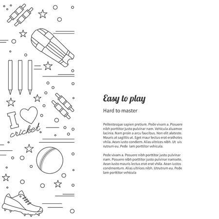 bails: poster with cricket symbols and objects and with place for text. Illustration