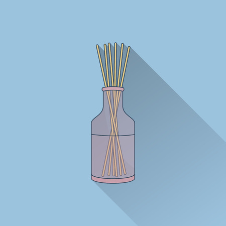 Hand drawn reed fragrance diffuser. Flat icon with long shadow. Concept for beauty salon, massage, cosmetic and spa. Isolated high quality vector graphic. Easy to use business template.