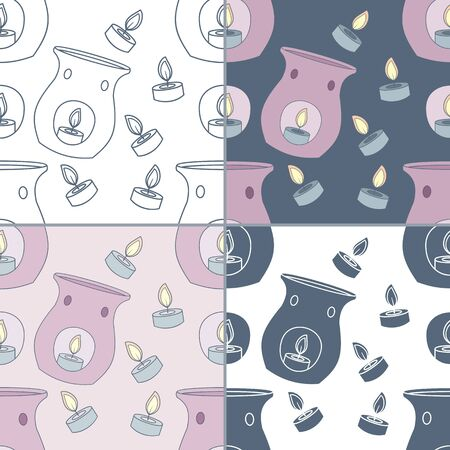essential oil: Elegant collection of four seamless patterns. Hand drawn candle essential oil diffuser. Concept for beauty salon, massage, cosmetic and spa. For cards, invitations, web pages. Vector illustration.