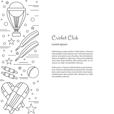 bails: Flyer, poster with cricket symbols and objects and with place for text. Vector sport template with professional cricket sport graphic design elements in thin line style isolated on white background.