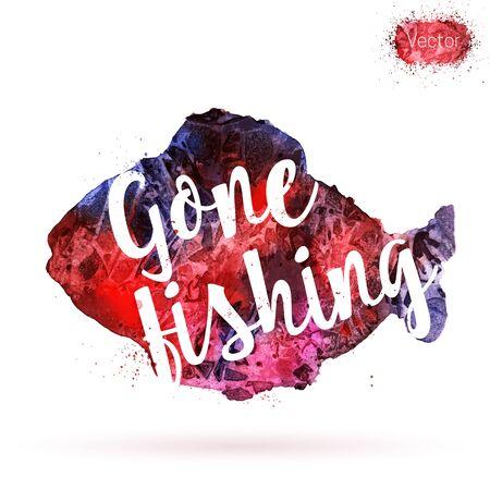 Frase, pesca ida, en el fondo de la acuarela. postal única, bandera, volante o cartel con pintado a mano la forma de pescado y las letras tipográfica. concepto de la caligrafía moderna. Ilustración del vector. Foto de archivo - 61988443